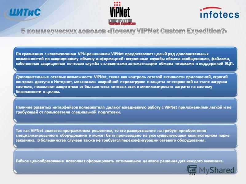 По сравнению с классическими VPN-решениями ViPNet предоставляет целый ряд дополнительных возможностей по защищенному обмену информацией: встроенные службы обмена сообщениями, файлами, собственная защищенная почтовая служба с элементами автоматизации