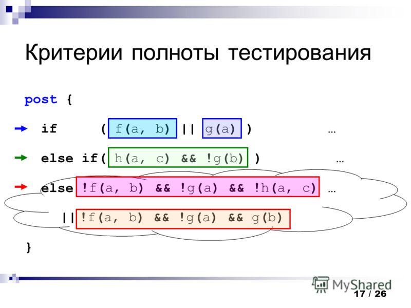 17 / 26 Критерии полноты тестирования post { if ( f(a, b) || g(a) ) … else if( h(a, c) && !g(b) ) … else … } !f(a, b) && !g(a) && !h(a, c) || !f(a, b) && !g(a) && g(b)