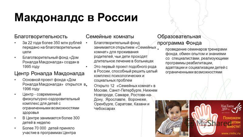 Макдоналдс в России Благотворительность За 22 года более 350 млн рублей передано на благотворительные цели Благотворительный фонд «Дом Роналда Макдоналда» создан в 1995 году Центр Роналда Макдоналда Основной проект фонда «Дом Роналда Макдоналда» откр