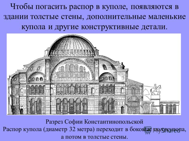 Чтобы погасить распор в куполе, появляются в здании толстые стены, дополнительные маленькие купола и другие конструктивные детали. Разрез Софии Константинопольской Распор купола (диаметр 32 метра) переходит в боковые полукупола, а потом в толстые сте