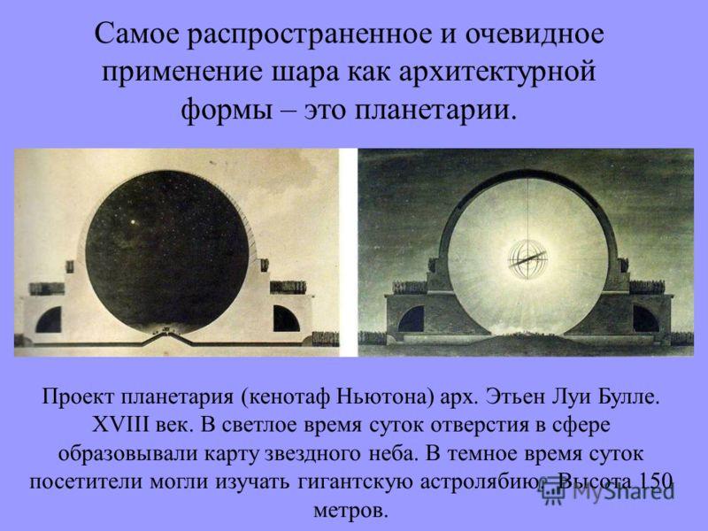 Самое распространенное и очевидное применение шара как архитектурной формы – это планетарии. Проект планетария (кенотаф Ньютона) арх. Этьен Луи Булле. XVIII век. В светлое время суток отверстия в сфере образовывали карту звездного неба. В темное врем