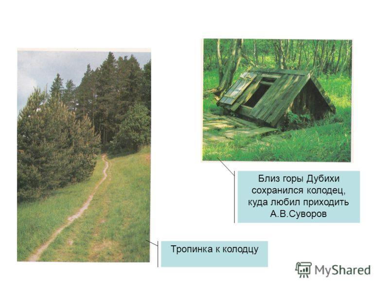 Тропинка к колодцу Близ горы Дубихи сохранился колодец, куда любил приходить А.В.Суворов