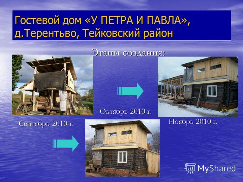 Гостевой дом «У ПЕТРА И ПАВЛА», д.Терентьво, Тейковский район Сентябрь 2010 г. Октябрь 2010 г. Ноябрь 2010 г. Этапы создания: