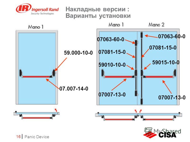 Panic Device 16 Накладные версии : Варианты установки 59.000-10-0 07.007-14-0 07007-13-0 59015-10-0 07081-15-0 59010-10-0 07081-15-0 07063-60-0