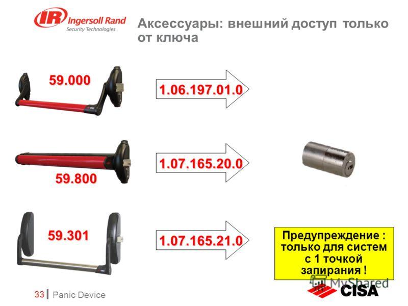 Panic Device 33 Аксессуары: внешний доступ только от ключа 59.800 59.301 59.000 1.06.197.01.0 1.07.165.20.0 1.07.165.21.0 Предупреждение : только для систем с 1 точкой запирания !