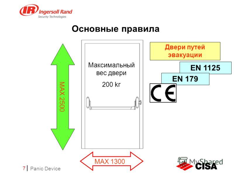 Panic Device 7 Основные правила Двери путей эвакуации EN 1125 MAX 1300 MAX 2500 Maксимальный вес двери 200 kг EN 179