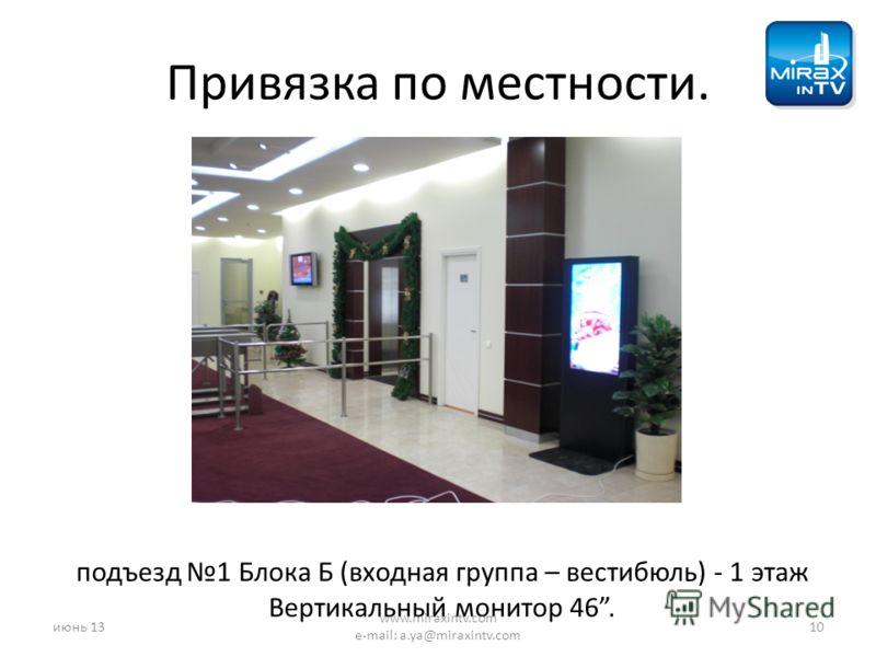 Привязка по местности. подъезд 1 Блока Б (входная группа – вестибюль) - 1 этаж Вертикальный монитор 46. июнь 1310 www.miraxintv.com e-mail: a.ya@miraxintv.com