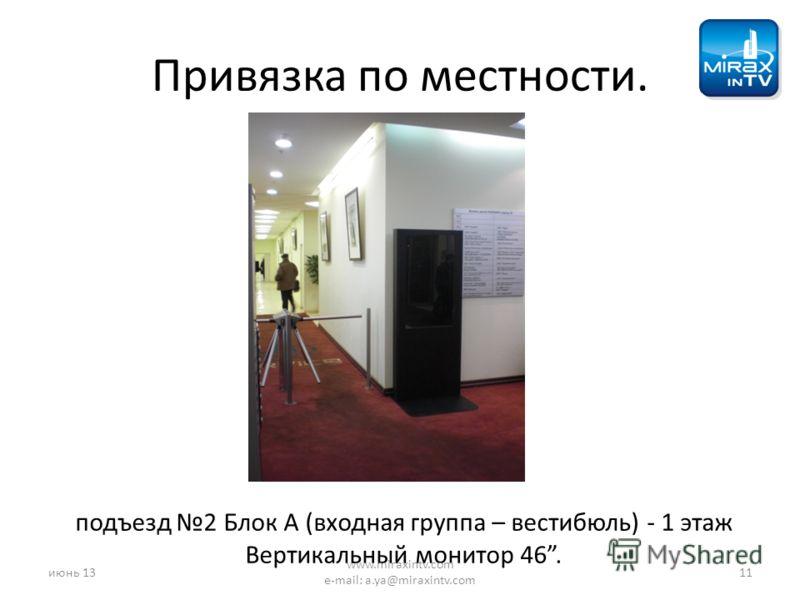 Привязка по местности. подъезд 2 Блок А (входная группа – вестибюль) - 1 этаж Вертикальный монитор 46. июнь 1311 www.miraxintv.com e-mail: a.ya@miraxintv.com