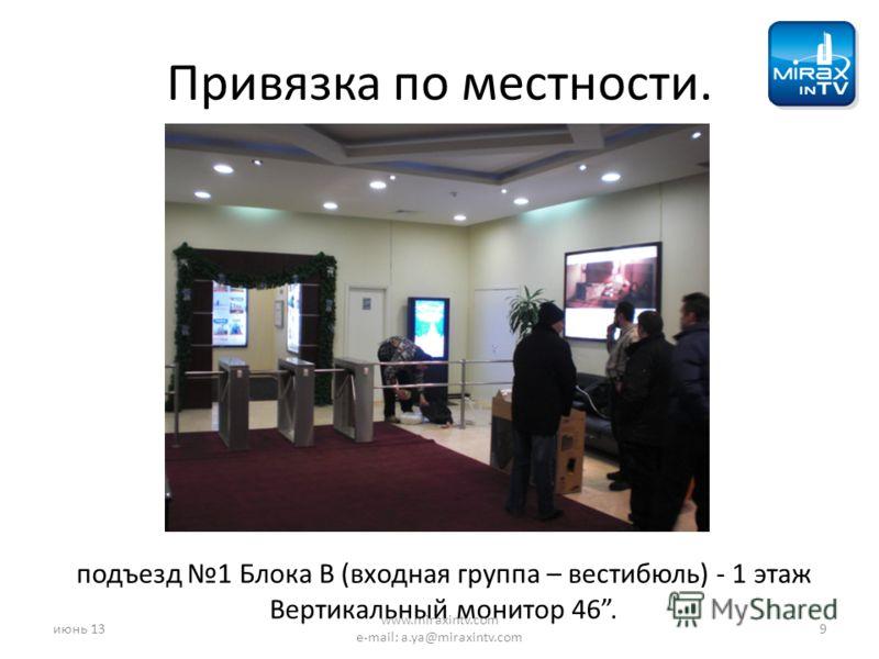 Привязка по местности. подъезд 1 Блока B (входная группа – вестибюль) - 1 этаж Вертикальный монитор 46. июнь 139 www.miraxintv.com e-mail: a.ya@miraxintv.com