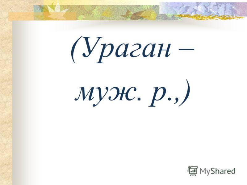 (Ураган – муж. р.,)
