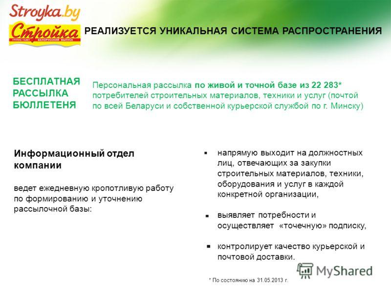 РЕАЛИЗУЕТСЯ УНИКАЛЬНАЯ СИСТЕМА РАСПРОСТРАНЕНИЯ БЕСПЛАТНАЯ РАССЫЛКА БЮЛЛЕТЕНЯ Персональная рассылка по живой и точной базе из 22 283* потребителей строительных материалов, техники и услуг (почтой по всей Беларуси и собственной курьерской службой по г.