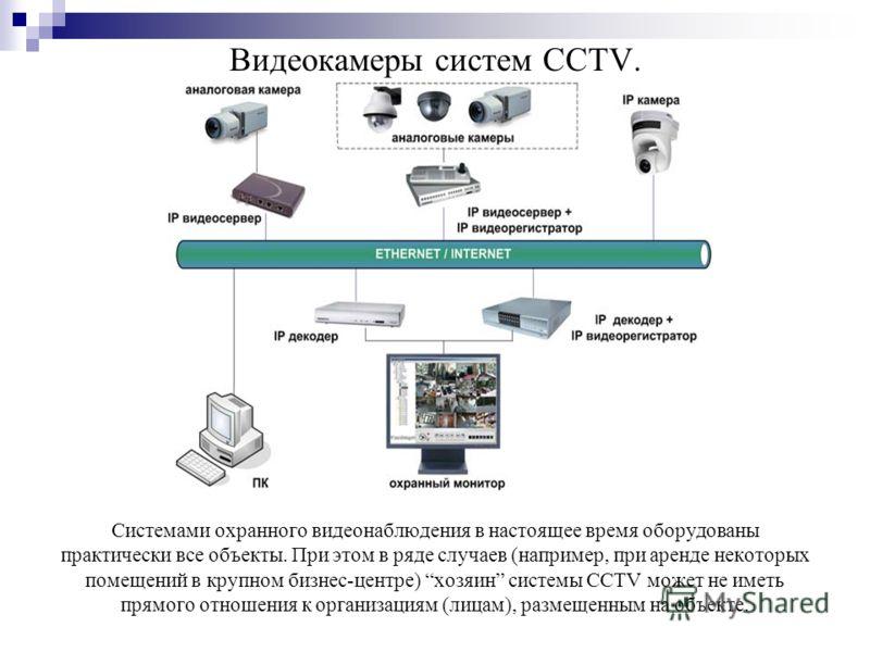 Видеокамеры систем CCTV. Системами охранного видеонаблюдения в настоящее время оборудованы практически все объекты. При этом в ряде случаев (например, при аренде некоторых помещений в крупном бизнес-центре) хозяин системы CCTV может не иметь прямого