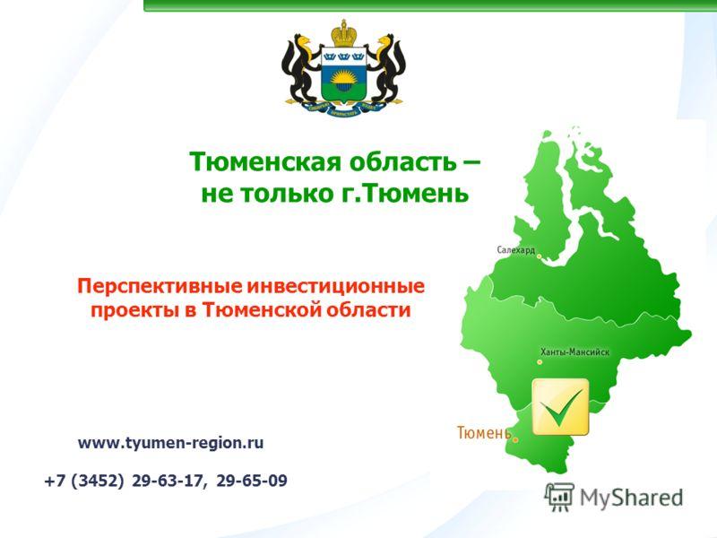 Тюменская область – не только г.Тюмень www.tyumen-region.ru +7 (3452) 29-63-17, 29-65-09 Перспективные инвестиционные проекты в Тюменской области