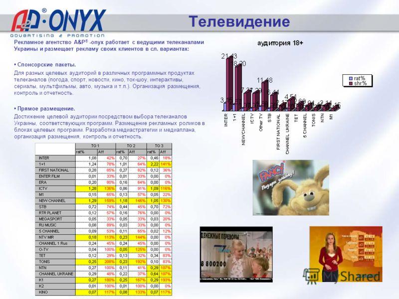 Телевидение Далее >> Рекламное агентство A&P ® -onyx работает с ведущими телеканалами Украины и размещает рекламу своих клиентов в сл. вариантах: Спонсорские пакеты. Для разных целевых аудиторий в различных программных продуктах телеканалов (погода,