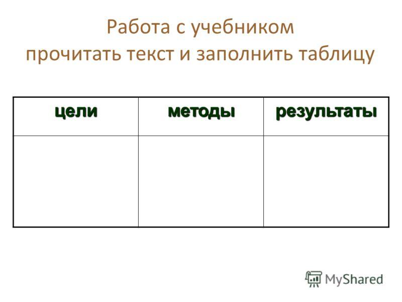 Работа с учебником прочитать текст и заполнить таблицу целиметодырезультаты