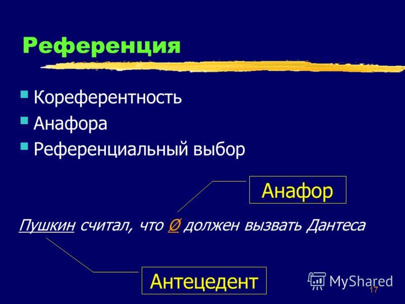 17 Референция Кореферентность Анафора Референциальный выбор Пушкин считал, что Ø должен вызвать Дантеса Антецедент Анафор