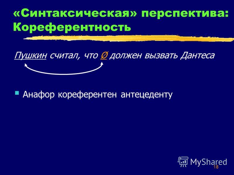 18 «Синтаксическая» перспектива: Кореферентность Пушкин считал, что Ø должен вызвать Дантеса Анафор кореферентен антецеденту