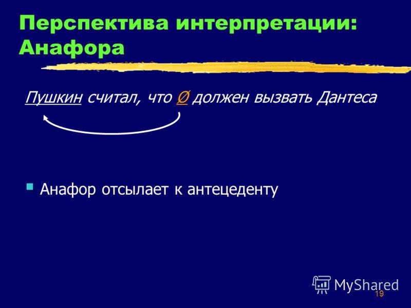 19 Перспектива интерпретации: Анафора Пушкин считал, что Ø должен вызвать Дантеса Анафор отсылает к антецеденту