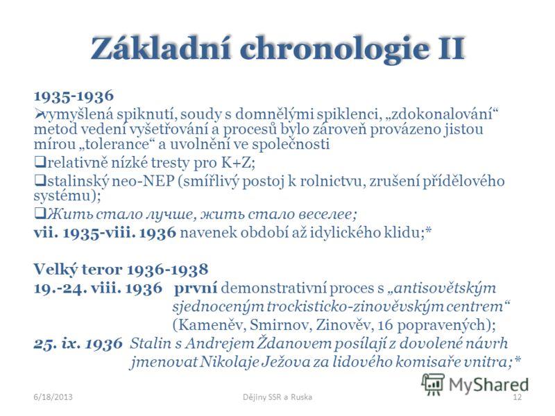 Základní chronologie II 1935-1936 vymyšlená spiknutí, soudy s domnělými spiklenci, zdokonalování metod vedení vyšetřování a procesů bylo zároveň provázeno jistou mírou tolerance a uvolnění ve společnosti relativně nízké tresty pro K+Z; stalinský neo-
