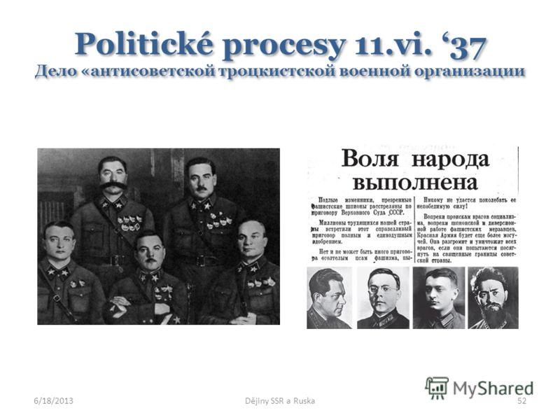 Politické procesy 11.vi. 37 Дело «антисоветской троцкистской военной организации 6/18/2013Dějiny SSR a Ruska52
