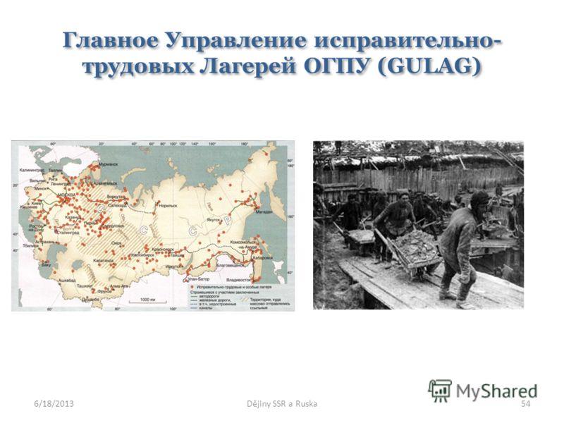 Главное Управление исправительно- трудовых Лагерей ОГПУ (GULAG) 6/18/2013Dějiny SSR a Ruska54