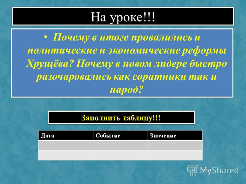 На уроке!!! Почему в итоге провалились и политические и экономические реформы Хрущёва? Почему в новом лидере быстро разочаровались как соратники так и народ? ДатаСобытиеЗначение Заполнить таблицу!!!