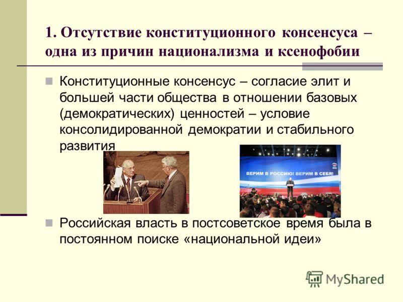 1. Отсутствие конституционного консенсуса – одна из причин национализма и ксенофобии Конституционные консенсус – согласие элит и большей части общества в отношении базовых (демократических) ценностей – условие консолидированной демократии и стабильно