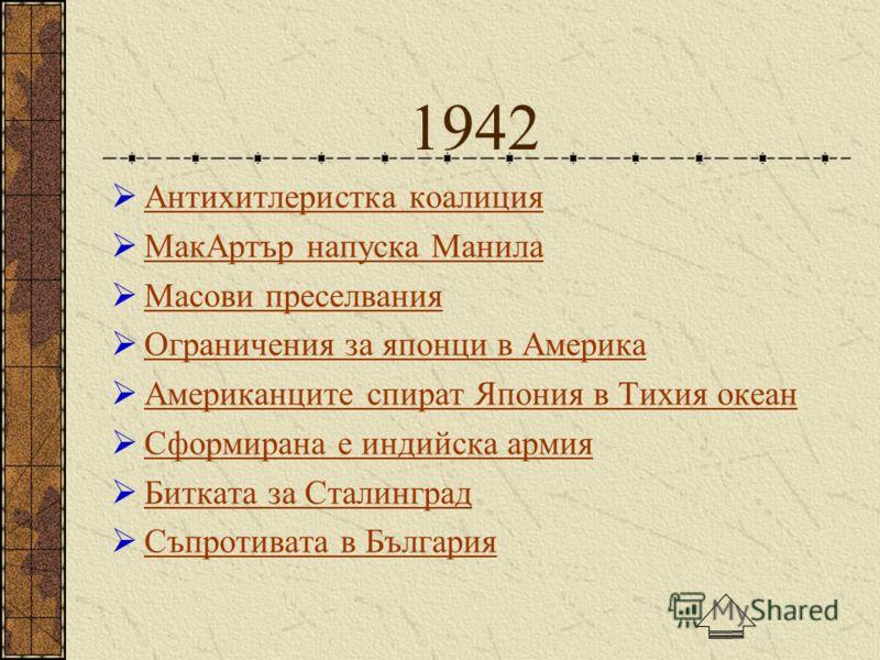 1942 Антихитлеристка коалиция МакАртър напуска Манила Масови преселвания Ограничения за японци в Америка Американците спират Япония в Тихия океан Сформирана е индийска армия Битката за Сталинград Съпротивата в България