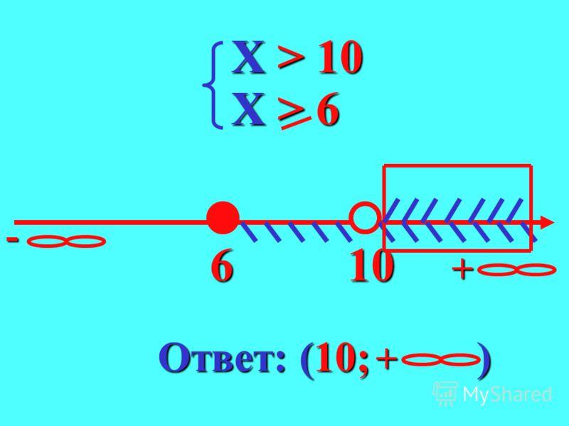 X < 10 X < 10 X > 6 X > 6 10-+ 6 Ответ: [6;10)