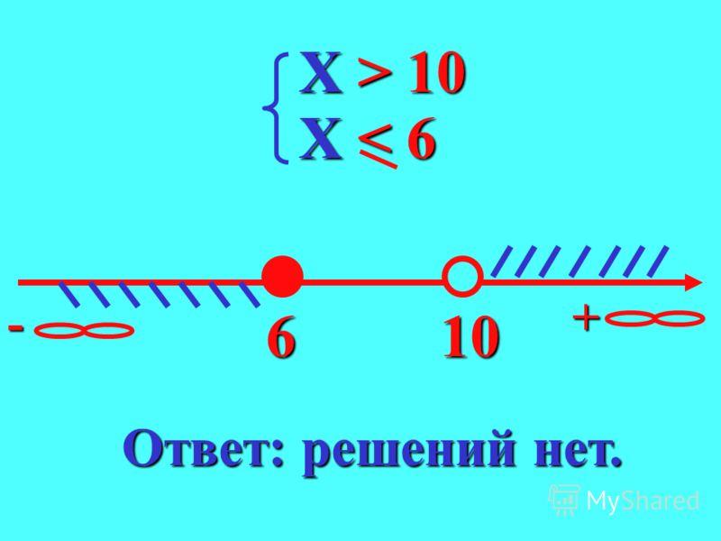 X < 10 X < 10 X < 6 X < 6 106 - + Ответ: ( ; 6] -