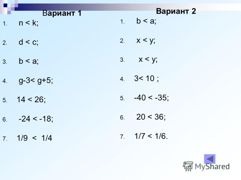 Вариант 1 1. n < k; 2. d < c; 3. b < a; 4. g-3< g+5; 5. 14 < 26; 6. -24 < -18; 7. 1/9 < 1/4 Вариант 2 1. b < a; 2. x < y; 3. x < y; 4. 3< 10 ; 5. -40 < -35; 6. 20 < 36; 7. 1/7 < 1/6.