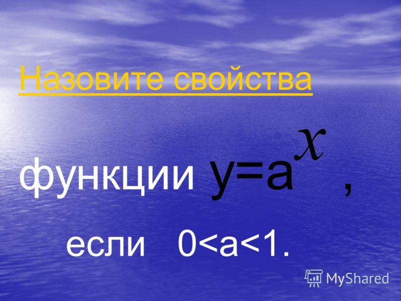 Назовите свойства функции y=a, если 0