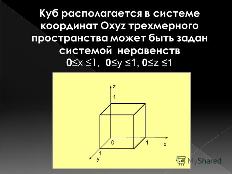Куб располагается в системе координат Охуz трехмерного пространства может быть задан системой неравенств 0 х 1, 0у 1, 0z 1 z x y 01 1 1