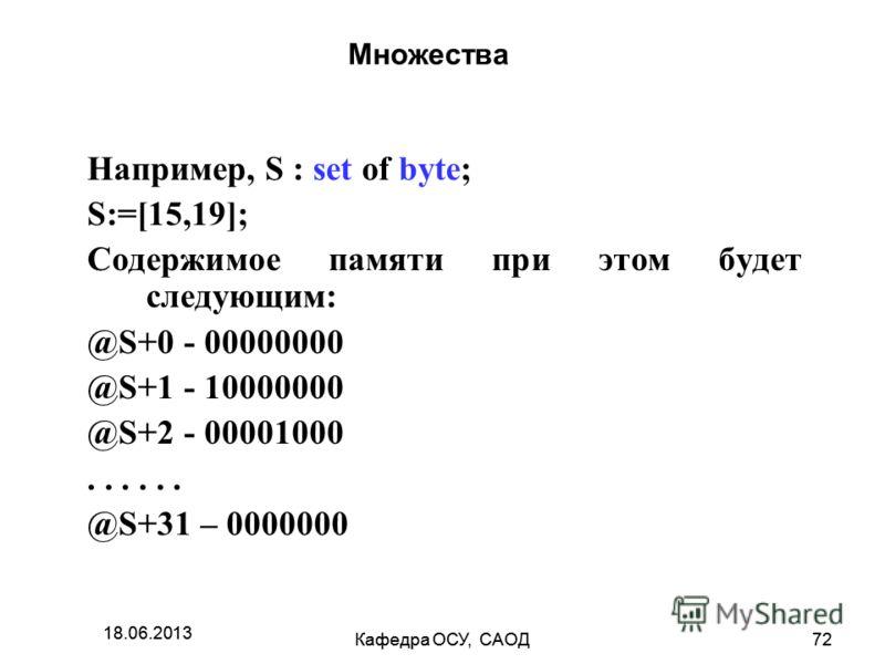 18.06.2013 Кафедра ОСУ, САОД72 18.06.2013 Кафедра ОСУ, САОД72 Множества Например, S : set of byte; S:=[15,19]; Содержимое памяти при этом будет следующим: @S+0 - 00000000 @S+1 - 10000000 @S+2 - 00001000... @S+31 – 0000000