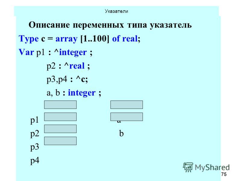 18.06.2013 Кафедра ОСУ, САОД75 18.06.2013 Кафедра ОСУ, САОД75 Указатели Описание переменных типа указатель Type c = array [1..100] of real; Var p1 : ^integer ; p2 : ^real ; p3,p4 : ^c; a, b : integer ; p1 a p2 b p3 p4 p1 := nil ;.. p4 := nil; a := 5;
