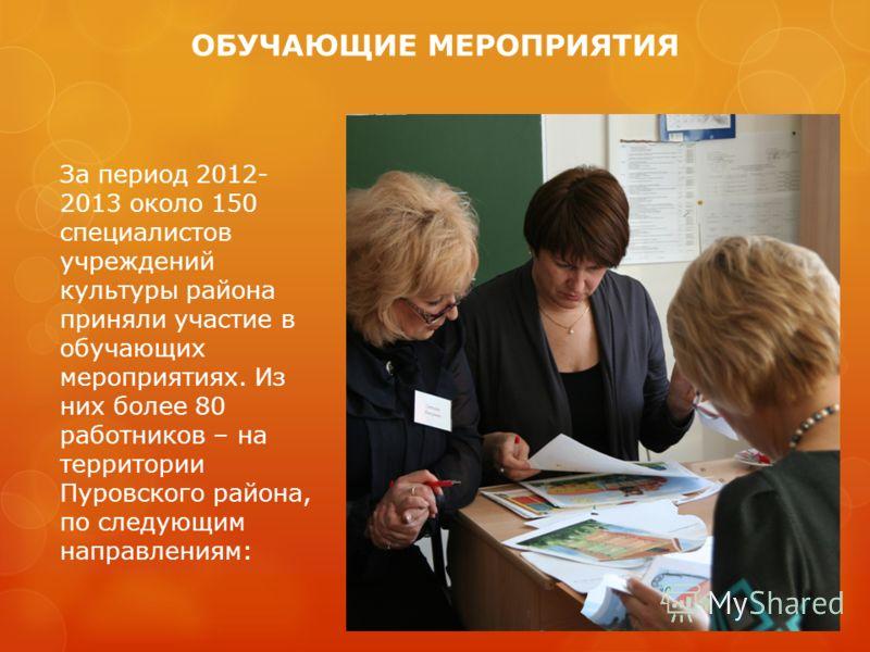 ОБУЧАЮЩИЕ МЕРОПРИЯТИЯ За период 2012- 2013 около 150 специалистов учреждений культуры района приняли участие в обучающих мероприятиях. Из них более 80 работников – на территории Пуровского района, по следующим направлениям: