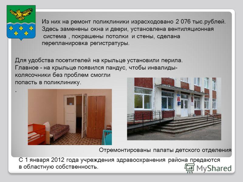 Из них на ремонт поликлиники израсходовано 2 076 тыс.рублей. Здесь заменены окна и двери, установлена вентиляционная система, покрашены потолки и стены, сделана перепланировка регистратуры. Для удобства посетителей на крыльце установили перила. Главн