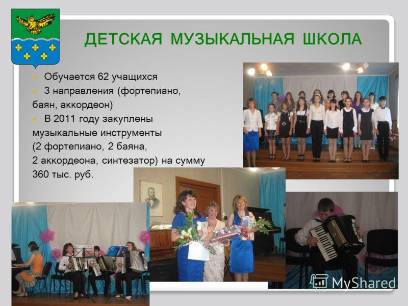 ДЕТСКАЯ МУЗЫКАЛЬНАЯ ШКОЛА Обучается 62 учащихся 3 направления (фортепиано, баян, аккордеон) В 2011 году закуплены музыкальные инструменты (2 фортепиано, 2 баяна, 2 аккордеона, синтезатор) на сумму 360 тыс. руб.