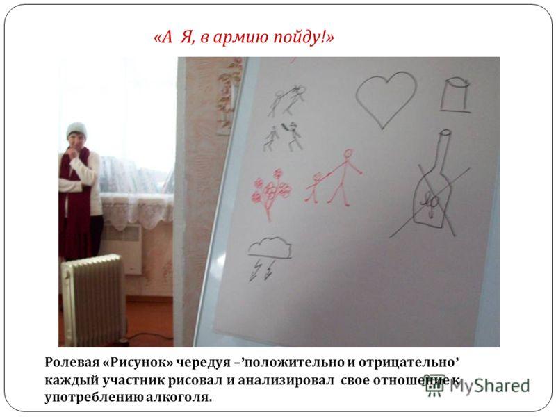 Ролевая «Рисунок» чередуя – положительно и отрицательно каждый участник рисовал и анализировал свое отношение к употреблению алкоголя. «А Я, в армию пойду!»