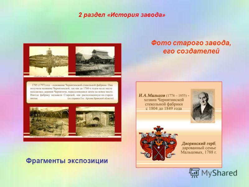 Фото старого завода, его создателей Фрагменты экспозиции 2 раздел «История завода»