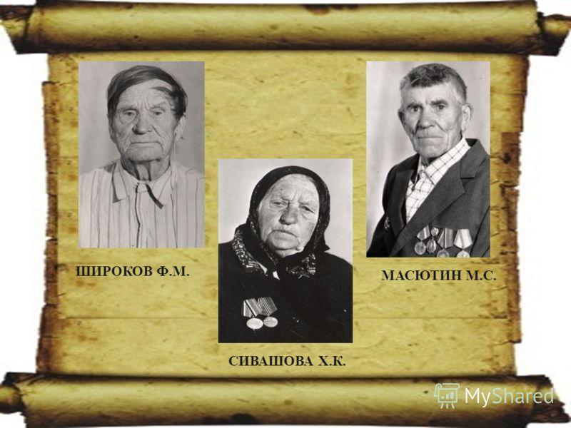 МАСЮТИН М.С. ШИРОКОВ Ф.М. СИВАШОВА Х.К.