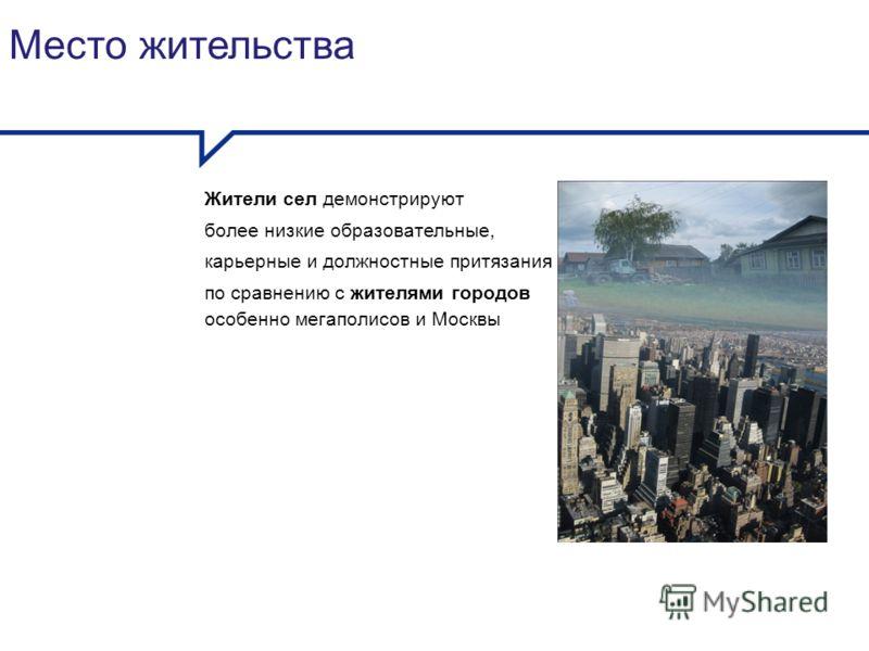 Место жительства Жители сел демонстрируют более низкие образовательные, карьерные и должностные притязания по сравнению с жителями городов особенно мегаполисов и Москвы