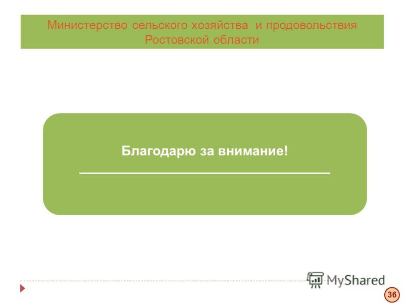 Благодарю за внимание! _____________________________________________ Министерство сельского хозяйства и продовольствия Ростовской области 36