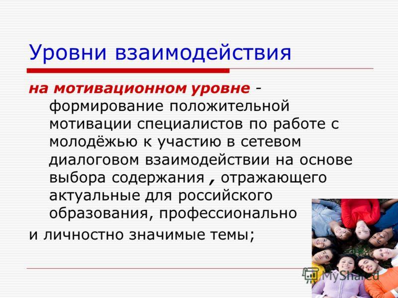 Уровни взаимодействия на мотивационном уровне - формирование положительной мотивации специалистов по работе с молодёжью к участию в сетевом диалоговом взаимодействии на основе выбора содержания, отражающего актуальные для российского образования, про