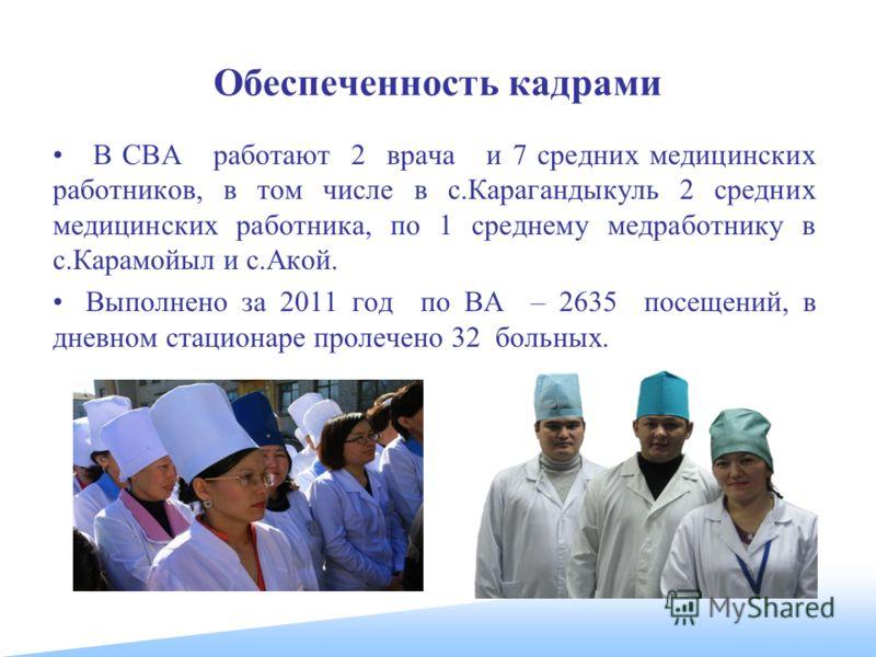 Обеспеченность кадрами В СВА работают 2 врача и 7 средних медицинских работников, в том числе в с.Карагандыкуль 2 средних медицинских работника, по 1 среднему медработнику в с.Карамойыл и с.Акой. Выполнено за 2011 год по ВА – 2635 посещений, в дневно