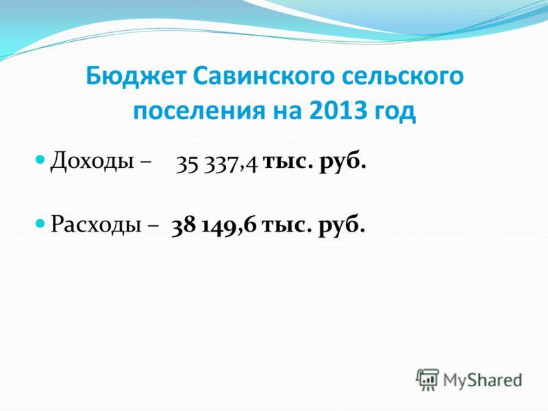 Бюджет Савинского сельского поселения на 2013 год Доходы – 35 337,4 тыс. руб. Расходы – 38 149,6 тыс. руб.