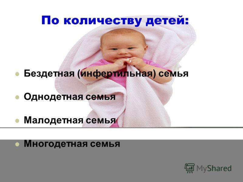 По количеству детей: Бездетная (инфертильная) семья Однодетная семья Малодетная семья Многодетная семья