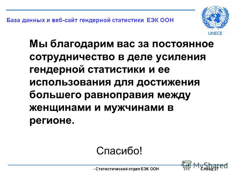 - Статистический отдел ЕЭК ООН Слайд 27 Мы благодарим вас за постоянное сотрудничество в деле усиления гендерной статистики и ее использования для достижения большего равноправия между женщинами и мужчинами в регионе. Спасибо! База данных и веб-сайт