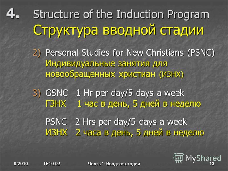 4. Structure of the Induction Program Структура вводной стадии 2)Personal Studies for New Christians (PSNC) Индивидуальные занятия для новообращенных христиан (ИЗНХ) 3)GSNC 1 Hr per day/5 days a week ГЗНХ 1 час в день, 5 дней в неделю PSNC 2 Hrs per