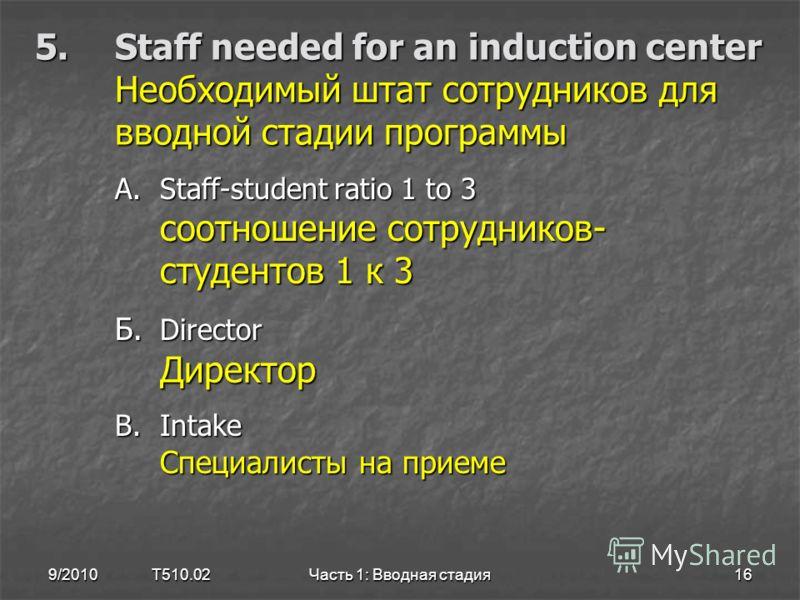 5.Staff needed for an induction center Необходимый штат сотрудников для вводной стадии программы A.Staff-student ratio 1 to 3 соотношение сотрудников- студентов 1 к 3 Б. Director Директор B.Intake Специалисты на приеме 9/2010 T510.0216Часть 1: Вводна